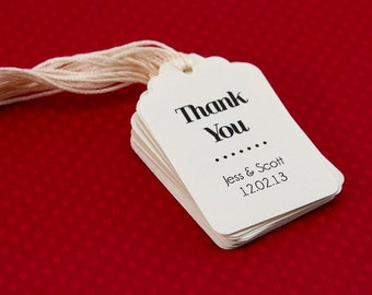 Set of 25 Thank You Tag, Customizable Thank You Tag, Chic Modern Tag, Shower Tag, Favor Label, Dessert Tag
