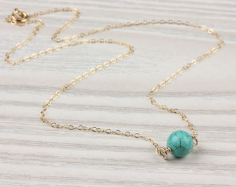 Turquoise Gold necklace / Gold Layered necklace / Something Blue / Bridal necklace / Bridesmaid jewelry / Turquoise and gold|Calydonian