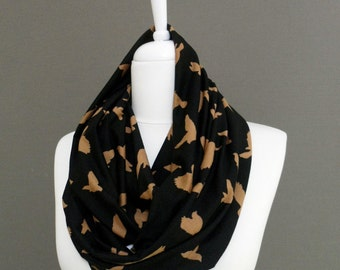 Bird pattern on Black Jersey Fabric Infinity scarf, Scarves, Shawls, Spring - Fall - Winter fashion