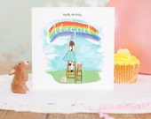 """Personalised Girls Birthday Card, Personalized Girls Birthday Card  """"Painting Rainbows"""""""
