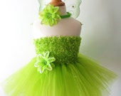 Pick flower, headband & size - Baby girls green chenille tutu dress, headband and wings set