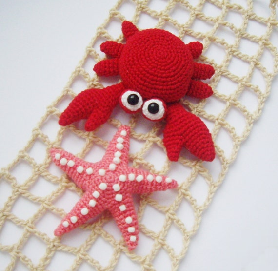 PDF PATTERN crochet flat amigurumi little toys Crab and