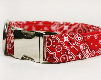 "Paisley red bandanna dog collar - ""Hankering for Love"""
