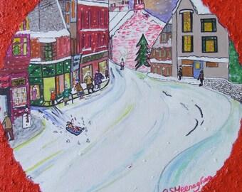 A Wintry Snowy Xmas Street  Scene