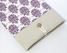 iPad Mini cover, iPad Air sleeve, Kindle Fire HDX case, padded protective case, Galaxy tablet cover, custom tablet case - purple damask