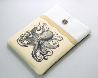 Lenovo Yoga Laptop Sleeve , Octopus, Custom Case, Ultrabook Cover, pocket, 15 in, mustard,