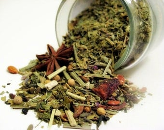 Perfumed Tea Blends- Absinthe Mate, The Chartreuse Fairy. Yerba Mate, Mint, Fennel, Lemon Balm, Anise & Spice. 1.75oz. Organic Fair Trade.