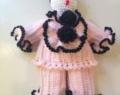 Vintage French Pierrot Crochet Doll 1950s