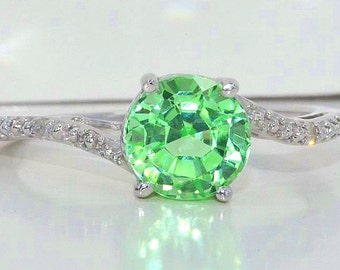 1.5 Ct Green Sapphire & Diamond Round Ring .925 Sterling Silver Rhodium Finish