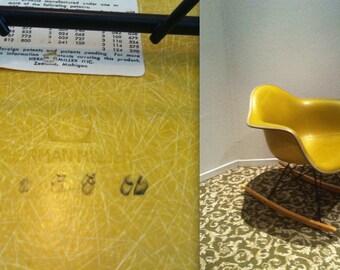 EAMES OLIVE GREEN Alexander Girard Naugahyde Yellow Fiberglass Armshell Rocker Vintage Herman Miller Rocking Chair Rare Color