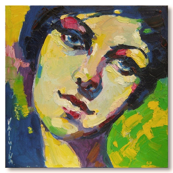 Woman face portrait painting original oil painting on canvas