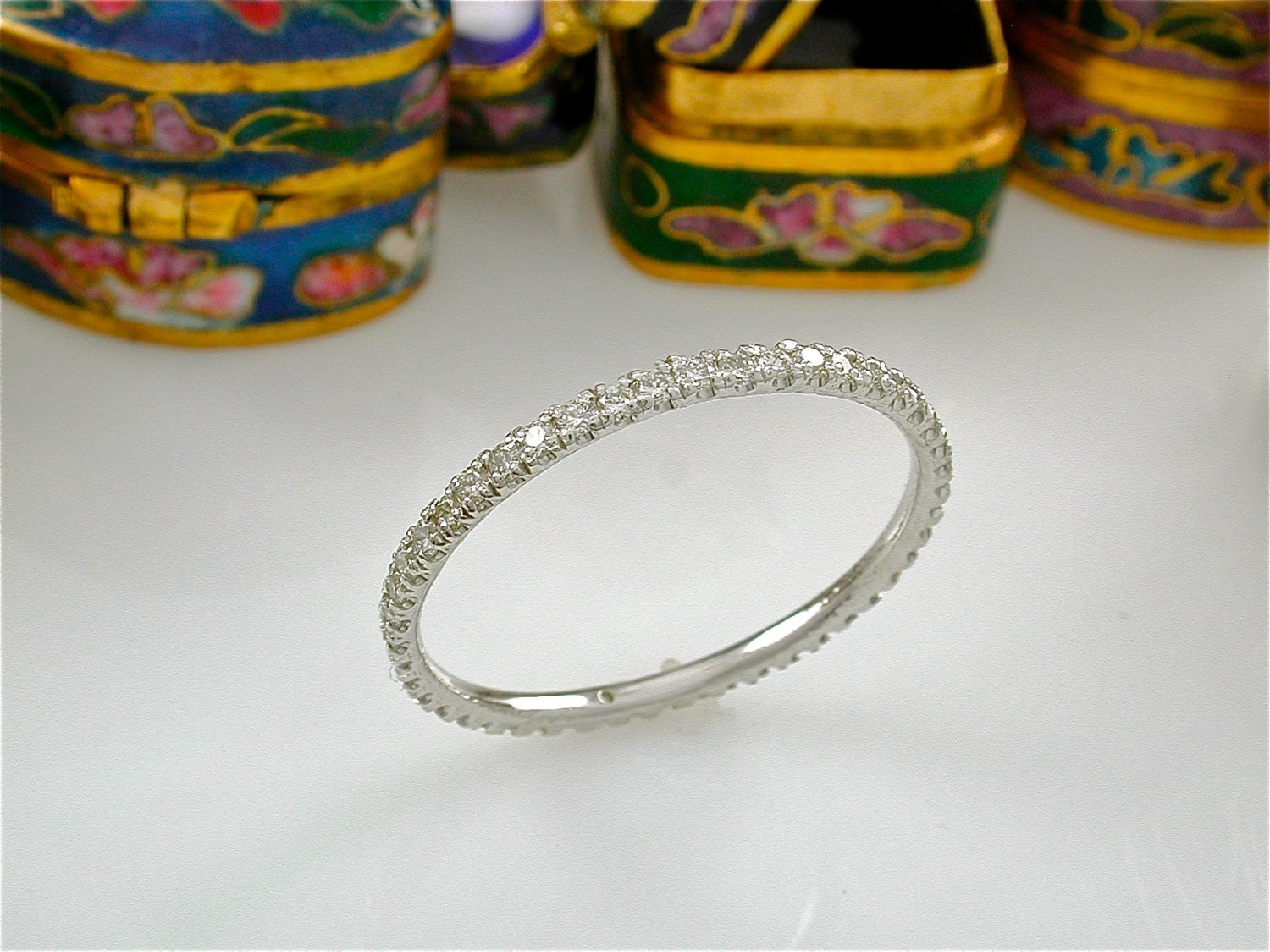 Tiny Diamond Eternity Ring Stacking Diamond Band Stack