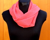 Infinity Scarf, Coral with Gold Polka Dot