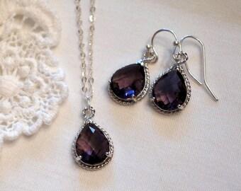 Purple Bridesmaid Jewelry Set of 4 Bridesmaid Jewelry Set Aquamarine Blue Sapphire Blue Ruby Red Crystal Bridesmaid Gift
