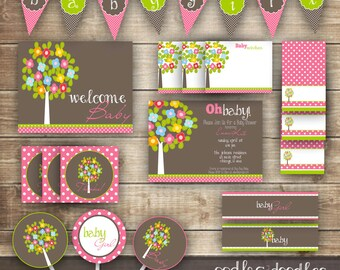Woodland Baby Girl Shower / Pink and Brown and Green Baby Shower / Flowers and Tree Baby Shower PARTY PACKAGE - Printable