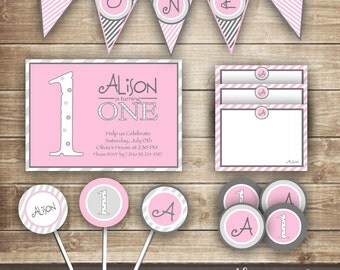 First Birthday PARTY PACKAGE / 1st Birthday Party Kit / Girl's Birthday Pink & Gray with Stripes and Monogram  -  Printable