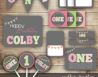 1st Birthday OR 2nd Birthday PARTY PACKAGE / First Birthday or Second Birthday / Pink & Green / Girl's 1st Birthday Party Kit - Printable