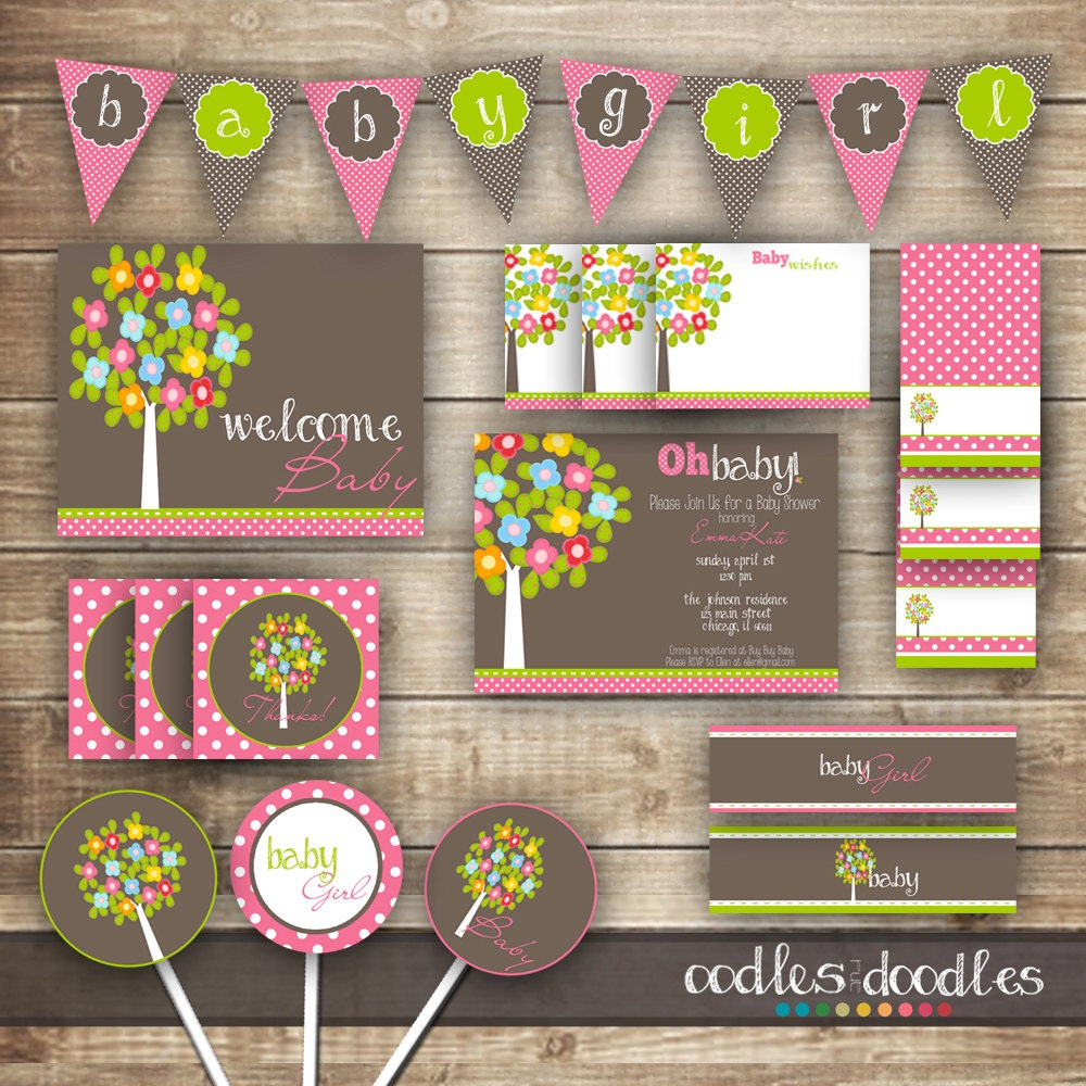 woodland baby girl shower pink and brown and green baby