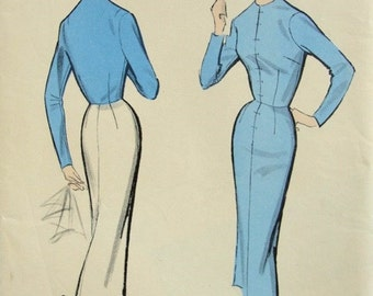 50s ADVANCE Pattern 8350 Slim Dress Basic Fitting Pattern To Determine Necessary Alterations Pattern Bust 32