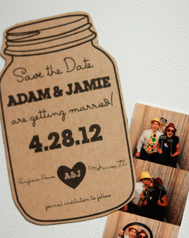 deposit for magnet mason jar save the date rustic wedding