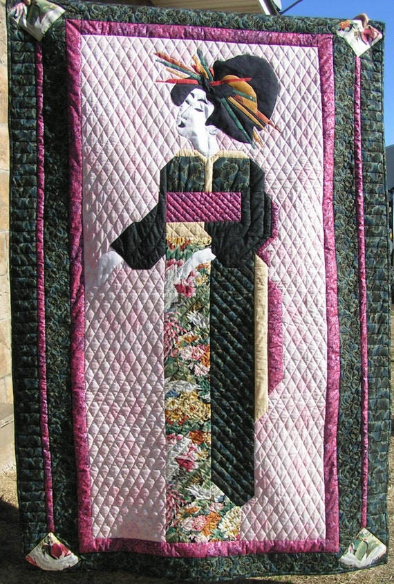 Asian Geisha Girl Quilt Oriental Wall Decor Or By