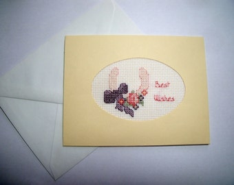 Wedding  Card.  Engagement Card.  Anniversary Card. CLEARANCE SALE. Cross stitch cards for all occasions.