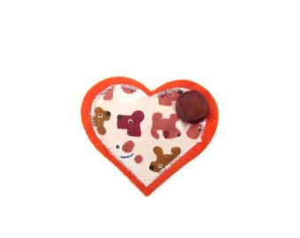 Womens Heart Brooch with Button.  Dog Lovers Brooch. CLEARANCE SALE.