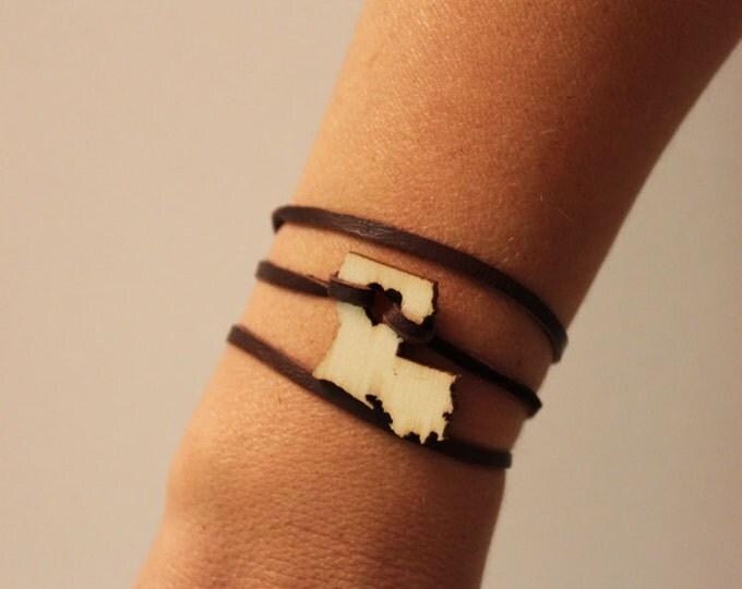 Louisiana Bracelet Leather Wrap Bracelet State Jewelry States of Love