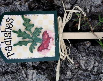 Garden Radishes Plant Sign - Wood Garden Sign