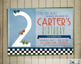 Race On Over ... Race Car Birthday Invitation DIY Printing ...