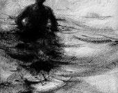 "Haunting Figure Drawing Water Wading Gothic Haunting Moody Shadow Dark Fog Fine Art Crayon ""Wander No. 36"""