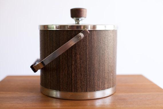 Vintage Atapco Ice Bucket - Wood and Chrome details