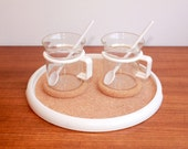 Pair of Vintage Bodum Denmark White Coffee / Espresso Cups with Cork Coasters & Spoons and Cork Serving Tray