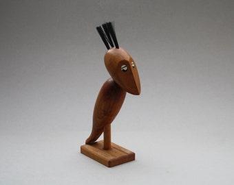 Danish teak wooden Vintage corkscrew and bottle opener of a bird