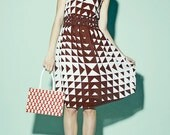 Vintage 1970s Brown and White Pyramid Print Sleeveless Day Dress