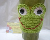 Coffee Cozy - Green Frog Hand Crafted Coffee Cozy - Tea Cozy - cold or frozen drink cozy
