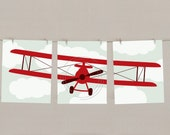Baby Boy Nursery Art Airplane Print Set -  Red, Set of 3
