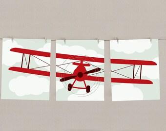 Baby Boy Nursery Art Airplane Print Set -  Red, Set of 3