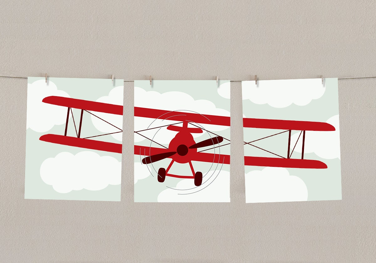 Baby boy nursery art airplane print set red set of 3 Vintage airplane decor for nursery