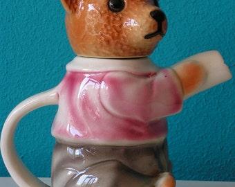 Antique porcelain teddy bear Teapot,  Cortendorf, Erphila Germany 1940s