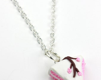 Pink Cherry Blossom Branch Cake Slice Polymer Clay Necklace