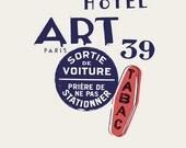 "Retro Paris Art Print by French Artist Emmanuel Touche ""Tabac"" Offset Lithograph"