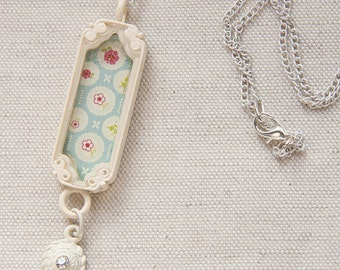 Blue Flowers Trinket Pendant Cottage Chic White Chain Necklace Rhinestone