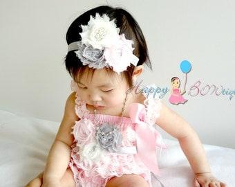 Trio Grey Ivory Pink headband, Baby girl headband, MTM Baby Girl's Pink Lace Romper,newborn headband, Baby Petti Rompers, birthday headband