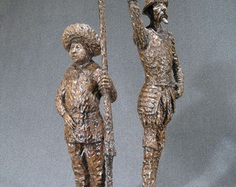 Hand Carved Wood Sculpture of Don Quixote and Sancho Panza