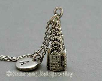 Chrysler Building charm necklace, skyscrapers new york, initial necklace, personalized, antique silver, monogram