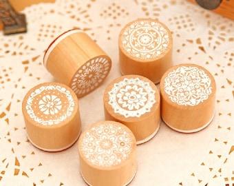 Lace Stamp Set -- Wooden Rubber Stamp Set -- Rubber Stamp Set -- Deco Stamps -- 6 pcs