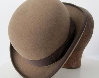 Bowler Hat in Tan, Wool Felt, Derby Hat,