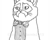 PDF Colouring Book Single Page PDF.  Grumpy Cat.  Valentine's Day, cat, adult, funny, DIY