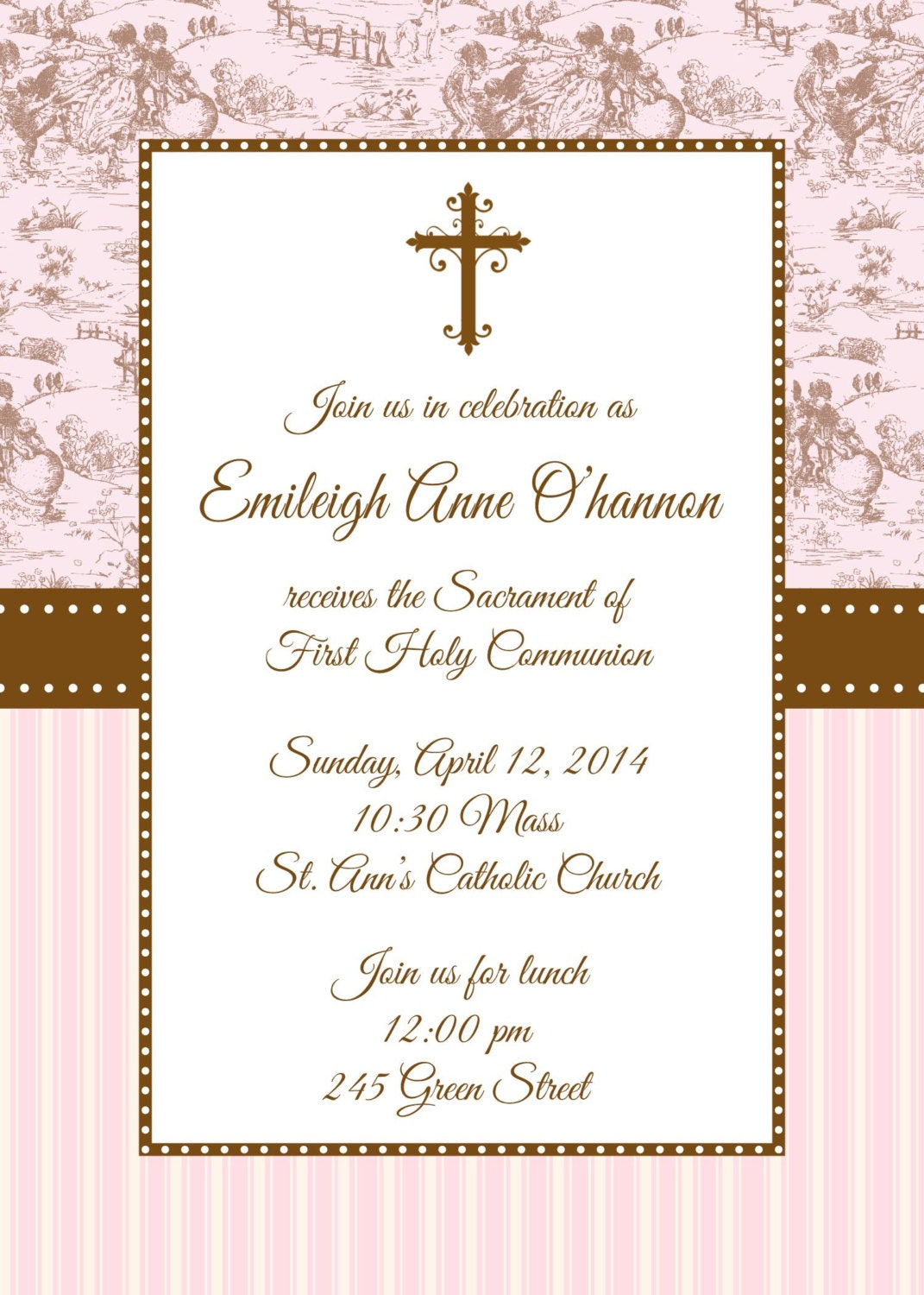 First Holy Communion Invitation First Communion Invitation